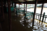 Flood Photo Prints - Flooded docks of a river boat taxi in Bangkok Thailand - 01132 Print by DC Photographer