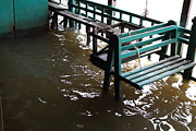 Flooded Framed Prints - Flooded docks of a river boat taxi in Bangkok Thailand - 01133 Framed Print by DC Photographer