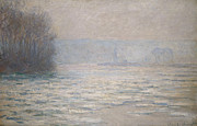 Haze Metal Prints - Floods on the Seine near Bennecourt Metal Print by Claude Monet