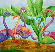 Flock Of Bird Paintings - Floosie Flamingos by Rhonda Leonard