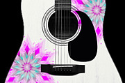 Hourglass Design Prints - Floral Abstract Guitar 1 Print by Andee Photography