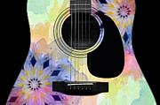 Strings Digital Art Posters - Floral Abstract Guitar 10 Poster by Andee Photography