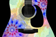 Strings Digital Art Posters - Floral Abstract Guitar 11 Poster by Andee Photography