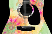 Acoustic Guitar Digital Art - Floral Abstract Guitar 12 by Andee Photography