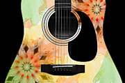 Acoustic Guitar Digital Art - Floral Abstract Guitar 13 by Andee Photography