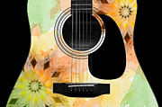 Strings Digital Art Posters - Floral Abstract Guitar 14 Poster by Andee Photography
