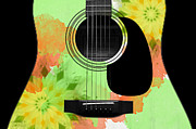 Acoustic Guitar Digital Art - Floral Abstract Guitar 15 by Andee Photography