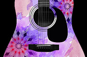 Strings Digital Art Posters - Floral Abstract Guitar 18 Poster by Andee Photography