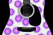 Acoustic Guitar Digital Art - Floral Abstract Guitar 19 by Andee Photography