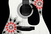 Hourglass Design Prints - Floral Abstract Guitar 2 Print by Andee Photography
