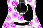 Hourglass Design Prints - Floral Abstract Guitar 20 Print by Andee Photography