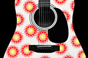 Acoustic Guitar Digital Art - Floral Abstract Guitar 21 by Andee Photography