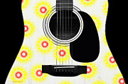 Acoustic Guitar Digital Art - Floral Abstract Guitar 22 by Andee Photography