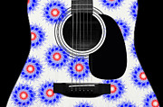 Strings Digital Art Posters - Floral Abstract Guitar 23 Poster by Andee Photography