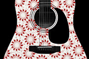 Strings Digital Art Posters - Floral Abstract Guitar 24 Poster by Andee Photography