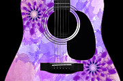 Acoustic Guitar Digital Art - Floral Abstract Guitar 29 by Andee Photography