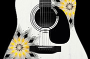 Hourglass Design Prints - Floral Abstract Guitar 3 Print by Andee Photography