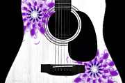 Strings Digital Art Posters - Floral Abstract Guitar 30 Poster by Andee Photography