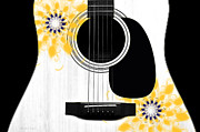 Strings Digital Art Posters - Floral Abstract Guitar 31 Poster by Andee Photography