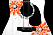 Strings Digital Art Posters - Floral Abstract Guitar 32 Poster by Andee Photography