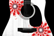 Strings Digital Art Posters - Floral Abstract Guitar 33 Poster by Andee Photography