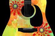 Hourglass Design Prints - Floral Abstract Guitar 34 Print by Andee Photography