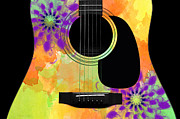 Acoustic Guitar Digital Art - Floral Abstract Guitar 35 by Andee Photography
