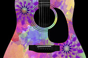 Hourglass Design Prints - Floral Abstract Guitar 36 Print by Andee Photography
