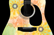 Strings Digital Art Posters - Floral Abstract Guitar 37 Poster by Andee Photography