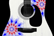 Hourglass Design Prints - Floral Abstract Guitar 4 Print by Andee Photography