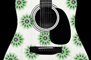Acoustic Guitar Digital Art - Floral Abstract Guitar 5 by Andee Photography