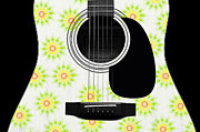 Acoustic Guitar Digital Art - Floral Abstract Guitar 6 by Andee Photography