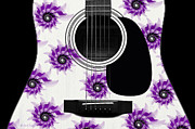 Acoustic Guitar Digital Art - Floral Abstract Guitar 7 by Andee Photography