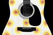 Strings Digital Art Posters - Floral Abstract Guitar 9 Poster by Andee Photography