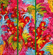 Floral Abstract Triptych On Green Background Print by Julia Fine Art And Photography