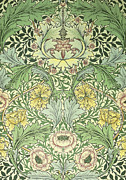 Featured Tapestries - Textiles Metal Prints - Floral and foliage design Metal Print by William Morris