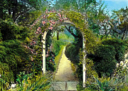 Realistic Paintings - Floral Arch and Path by Terry Reynoldson