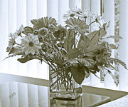 Blue Jar Posters - Floral Arrangement With Blinds Reflection Poster by Ben and Raisa Gertsberg