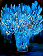 Iconic Painting Originals - Floral Blues by Iconic Images Art Gallery David Pucciarelli