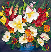 Gladiolas Mixed Media Posters - Floral Bouquet 1 Poster by Cheryl Stevenson