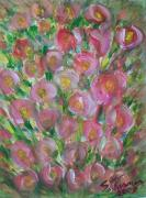 Acrylic On Canvas Board Paintings - Floral Burst by Susan Turner