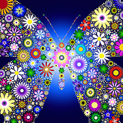 Floral Butterfly Print by Tim Gainey