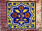 Faience Posters - Floral ceramic mosaic at mosque in Pakistan Poster by Imran Ahmed
