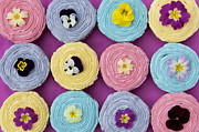 Colourful Flower Prints - Floral Cupcakes Print by Tim Gainey