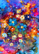 Daisies Drawings - Floral dance fantasy by Svetlana Novikova