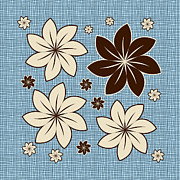 Textured Floral Prints - Floral design on blue Print by Gaspar Avila