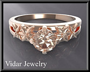 Romantic Rose Jewelry - Floral Pink Morganite Solitaire 14k Rose Gold Engagement Ring by Roi Avidar