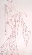 Fashion Illustration Pastels Posters - Floral Sophisticate Poster by Christine Corretti