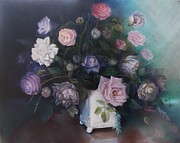 Purple Roses Prints - Floral Still Life Print by Marlene Book
