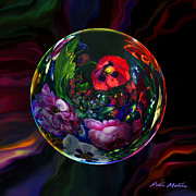 Still Life Digital Art Metal Prints - Floral Still Life Orb Metal Print by Robin Moline